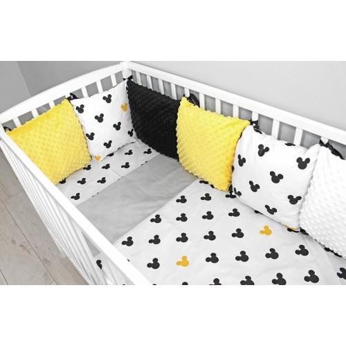 Baby Nellys Vankúšikový mantinel Minky s obliečkami, 135x100 - Mickey, žlutá