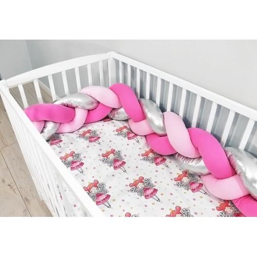 Baby Nellys Mantinel pletený vrkoč shine s obliečkami Víla - růžová, stříbrná