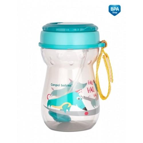 Canpol babies Športová nekvapkajúci fľaša so slamkou Psík - tyrkysová