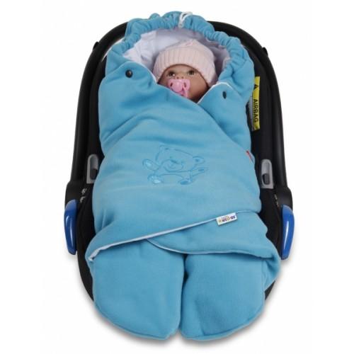 Baby Nellys Detská zavinovačka, fusak polar / bio bavlna - modrá