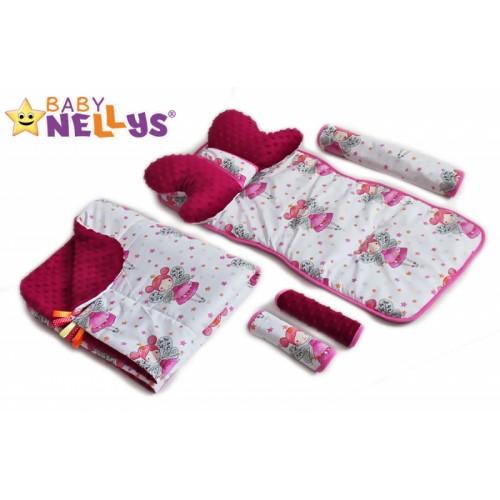 Baby Nellys Komplet do kočíka - podložka, polštářek, potah na popruhy a barierku č. 2  D19