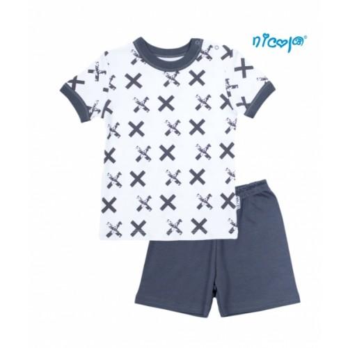 Detské pyžamo krátke Nicol, Rhino - biele/grafit, veľ. 116