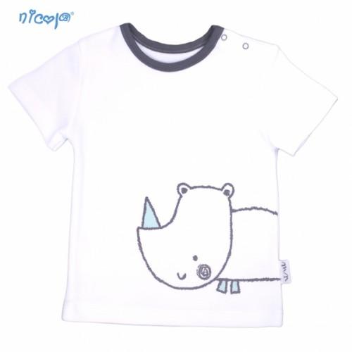 Bavlnené tričko krátky rukáv Nicol, Rhino - biele, Veľ. 74