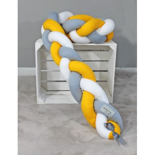 Mantinel Baby Nellys pletený vrkoč - žltá,biela, sivá