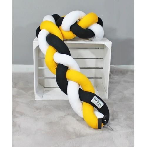 Mantinel Baby Nellys pletený vrkoč - žltá,čiern,biela