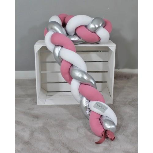 Mantinel Baby Nellys pletený vrkoč - růžová, biela, strieborná