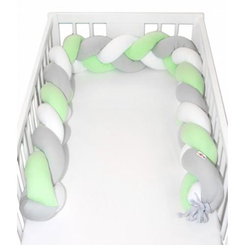 Mantinel Baby Nellys pletený vrkoč - zelená, biela, sivá