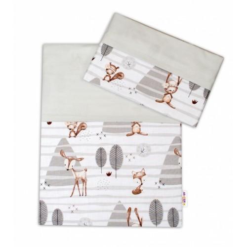 2-dielne bavlnené obliečky Baby Nellys, Zvieratka v lese - sivá, 135x100