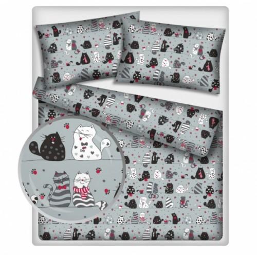 Baby Nellys Bavlněné obliečky 140 x 200 - mačky - sivé