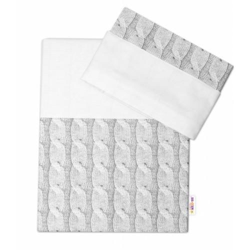 2-dielne bavlnené obliečky Baby Nellys, Pletený vrkoč - sivý, vel. 135x100cm