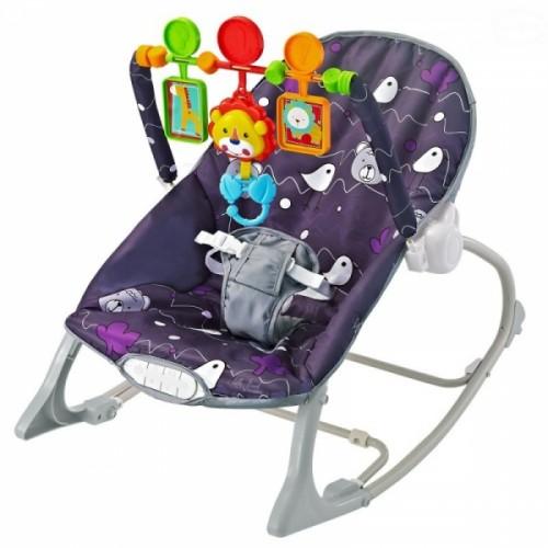 Euro Baby Lehátko, hojdačka pre dojčatá s vibrácií a hudbou  Little forest - fialové, K19
