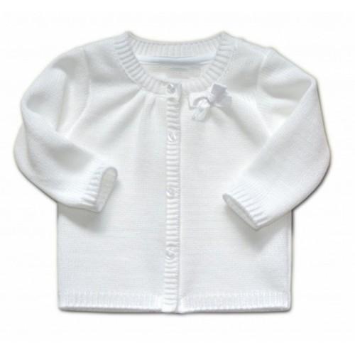 Dojčenský svetrík K-Baby s mašličkou - biely, veľ. 110