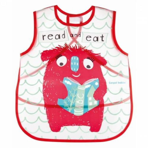Canpol babies Plastový podbradník/zásterka s vreckom Monsters - červená