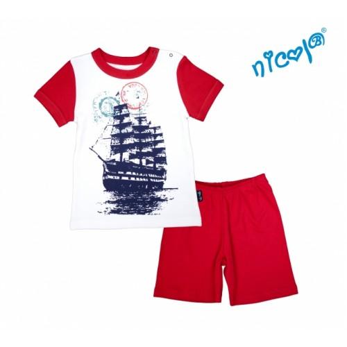 Detské pyžamo krátke Nicol, Sailor  - biele/červené, veľ. 128