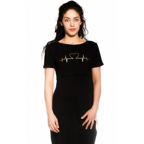 Be MaaMaa Tehotenská, dojčiaca nočná košeľa Heartbeat - čierna, veľ. L/XL