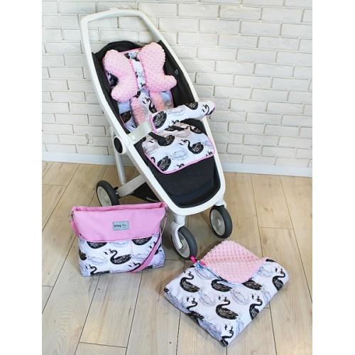 Mega sada do kočíka s taškou na kočík - Labutě - růžová, Ce19
