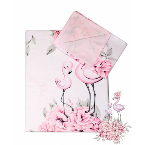 2-dielne bavlnené obliečky Baby Nellys - Plameniak ružový, 135 x 100