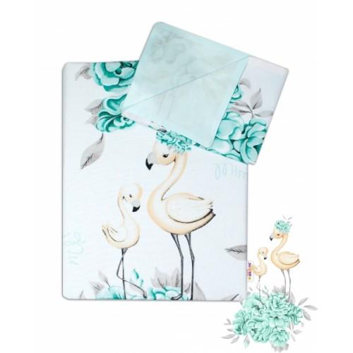 2-dielne bavlnené obliečky Baby Nellys - Plameniak mätový, 135 x 100