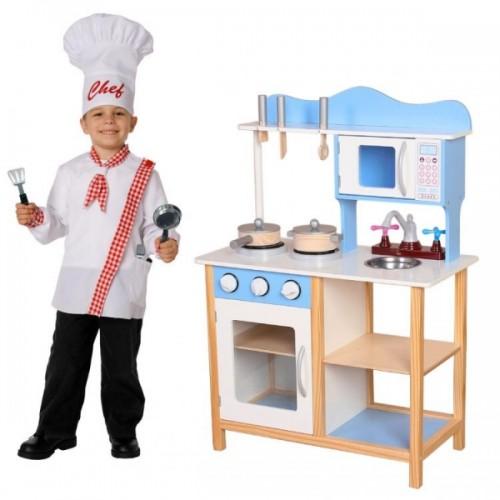 Eco Toys Drevená kuchynka s príslušenstvom, 85 x 60 x 30 cm - modrá