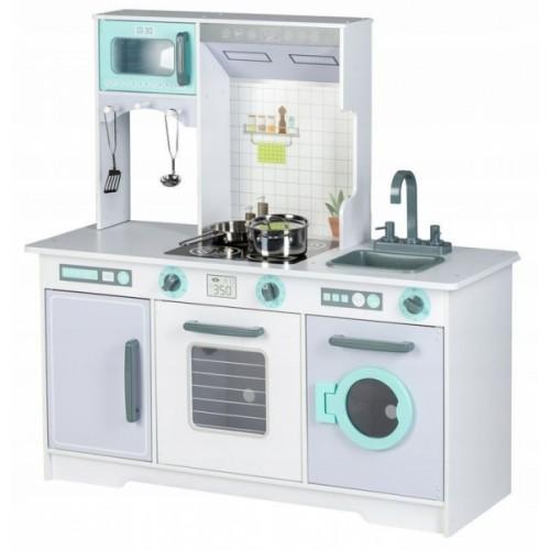 Eco Toys Drevená kuchynka XXL s príslušenstvom, 105 x 44 x 14 cm - šedá, mätová