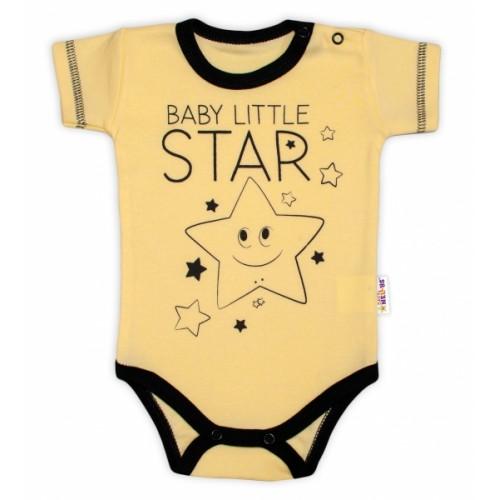 Body krátky rukáv Baby Nellys, Baby Little Star - žlté, veľ. 68