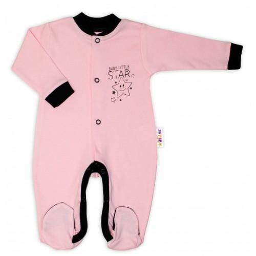 Baby Nellys Bavlnený overal Baby Little Star - ružový, veľ. 56