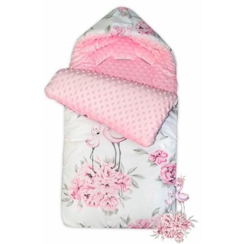 Bavlnený fusak Baby Nellys, minky, Plameniak, 45 x 95 cm - ružový