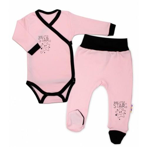 Baby Nellys 2-dielna sada body dl. rukáv + polodupačky, ružová - Baby Little Star, veľ. 56