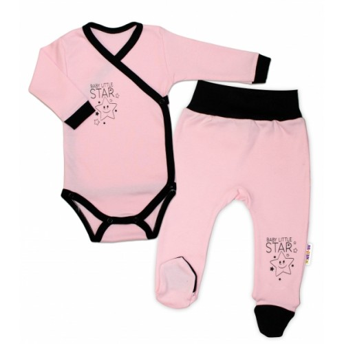 Baby Nellys 2-dielna sada body dl. rukáv + polodupačky, ružová - Baby Little Star, veľ. 62