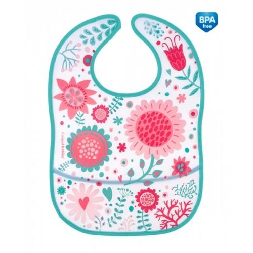 Plastový podbradník/zásterka s vreckom Canpol Babies Wid Nature - ružový