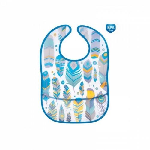 Plastový podbradník/zásterka s vreckom Canpol Babies Wid Nature - tyrkysový