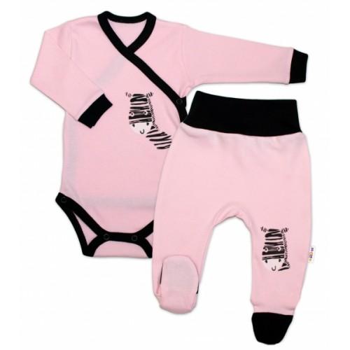 Baby Nellys 2-dielna sada body dl. rukáv + polodupačky, ružová - Zebra, veľ. 56