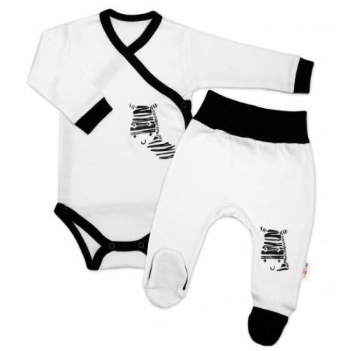 Baby Nellys 2-dielna sada body dl. rukáv + polodupačky, biela - Zebra, veľ. 56