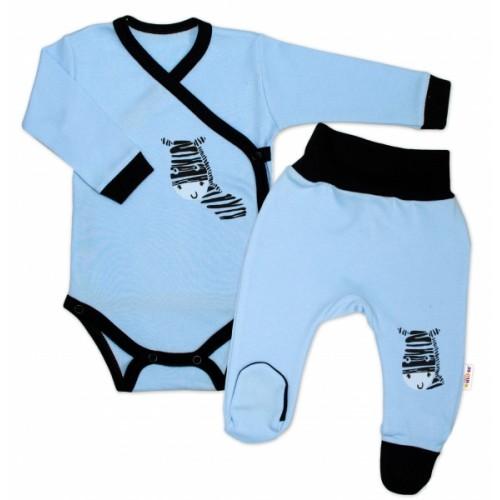 Baby Nellys 2-dielna sada body dl. rukáv + polodupačky, modrá - Zebra, veľ. 62
