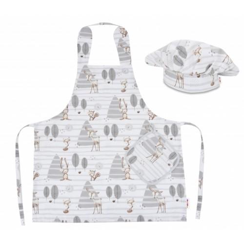 Kuchárska sada Junior MasterChef - zástera + čiapka + rukavice, béžový - zvieratka v lese