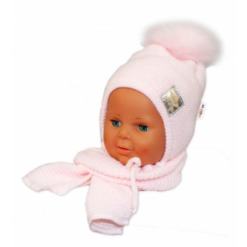 BABY NELLYS Zimná čiapočka s šálom - chlupáčková Bambulka - sv. ružová/sv. ružová