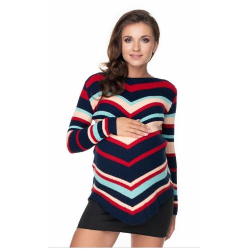 Be Maamaa Dlhši tehotenský sveter granát - šikmý vzor