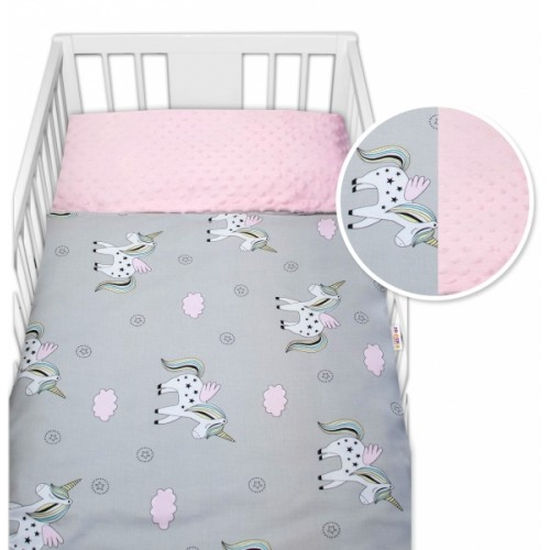 2-dielne bavlnené obliečky s Minky Baby Nellys - jednorožec, ružová /šedá, 135x100cm