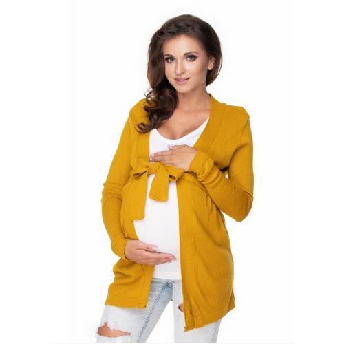 Be MaaMaa Tehotenský kardigan/sveter s opaskom - horčica
