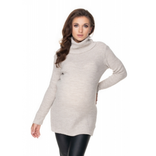 Be MaaMaa Dlhý tehotenský sveter - béžový