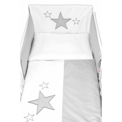 Baby Nellys 5-dielna súprava do postieľky Baby Stars - sivá, veľ. 135x100 cm