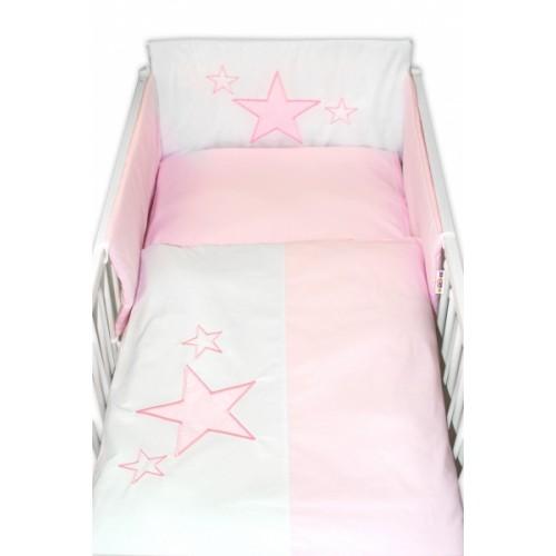 Baby Nellys 5-dielna súprava do postieľky Baby Stars - ružová, veľ. 135x100 cm