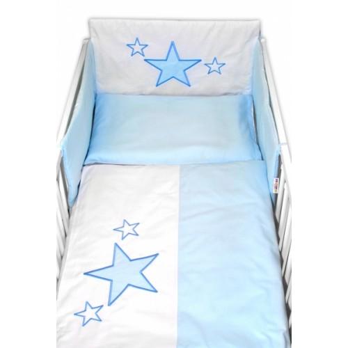 Baby Nellys Mantinel s obliečkami Baby Stars - modrý, veľ. 135x100 cm