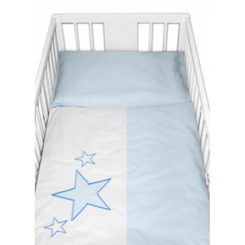 Baby Nellys Obliečky do postieľky Baby Stars  - modré, veľ. 135x100 cm