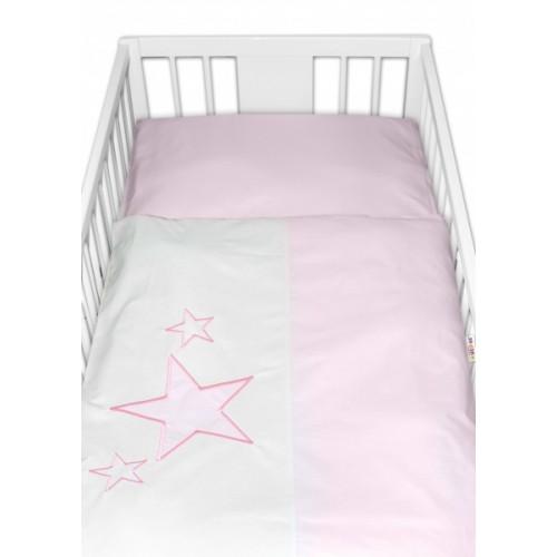 Baby Nellys Obliečky do postieľky Baby Stars  - ružové, veľ. 135x100 cm