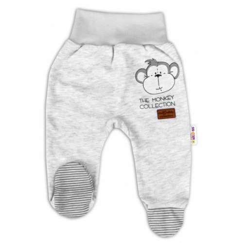 Baby Nellys Dojčenské polodupačky Monkey - sv. sivý melírek, veľ. 74