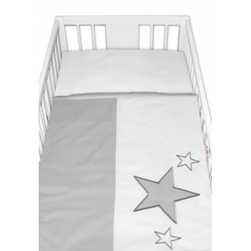 Baby Nellys Obliečky do postieľky Baby Stars - sivé, veľ. 135x100 cm