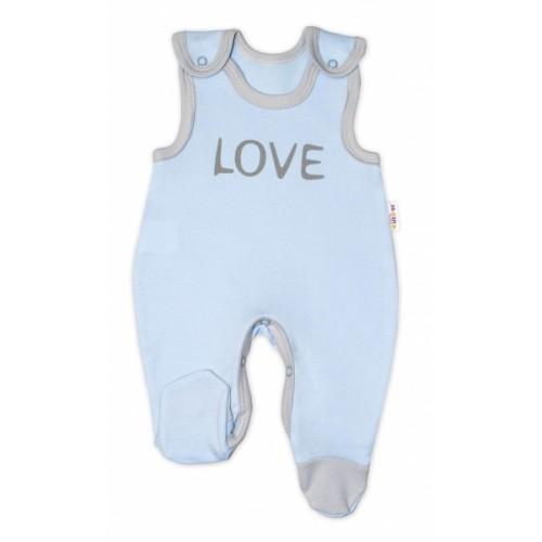 Dojčenské bavlnené dupačky Baby Nellys, Love - modré, veľ. 62