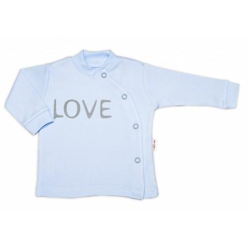 Baby Nellys Bavlnená košieľka Love zapínanie bokom - biela