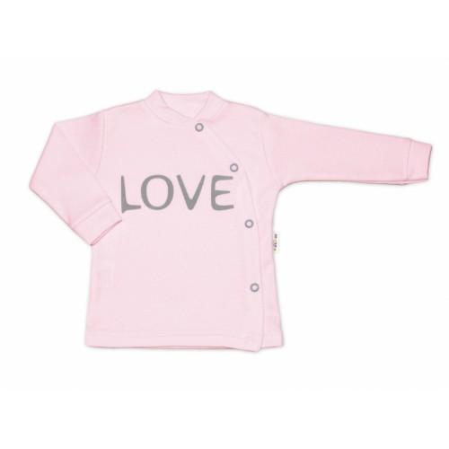 Baby Nellys Bavlnená košieľka Love zapínanie bokom - ružová